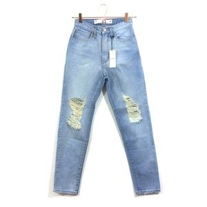f350556373 O2 Denim. Light Wash High Waist Straight Jeans Distressed 24